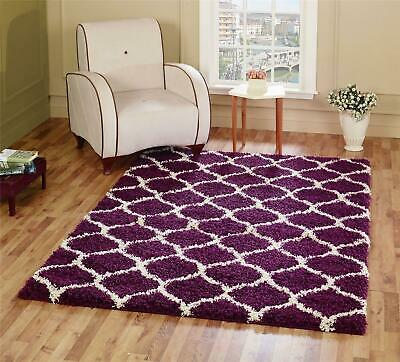 Large Shag Rugs Coloured Trellis Pattern Thick Playroom Area Carpet Long Runners