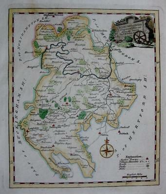 BEDFORDSHIRE  BEDFORD  BY THOMAS KITCHIN GENUINE ANTIQUE ENGRAVED MAP  c1770