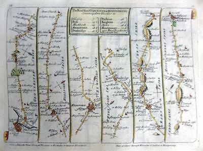 ROAD MAP BY JOHN SENEX c1762 HAND COLOUR  HEREFORD LEICESTER / GLOUCESTER