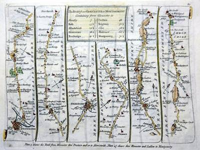 ROAD MAP BY JOHN SENEX c1762 HAND COLOUR  GLOUCESTER WORCESTERSHIRE LEICESTER
