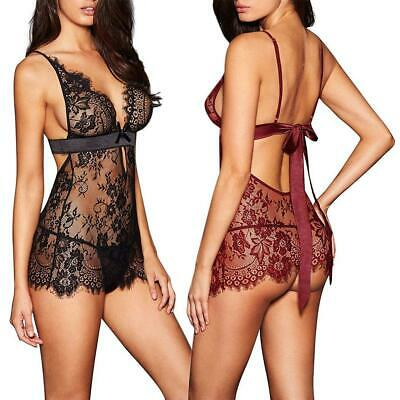 Women Sexy Lingerie Lace See Through Lace Chemise Babydoll Nightwear Sleepwear