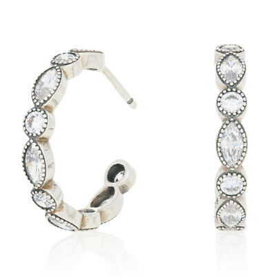 0f8722576 New Authentic Pandora Alluring Brilliant Marquise Hoop Earrings Ster  290724CZ