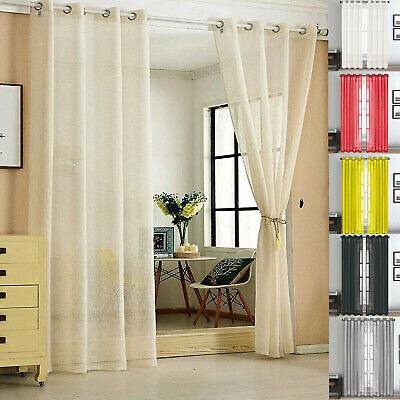 """48"""" Inch Plain Voile Lucy Eyelet Curtain Ring top Net Panel All Colors"""