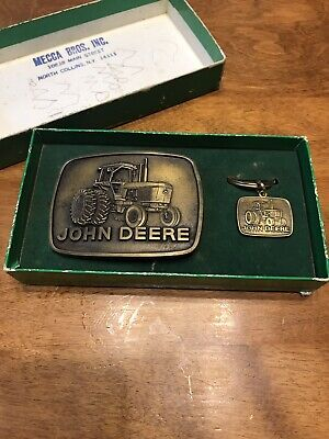 NEW unworn VINTAGE 1977 Brass John Deere belt buckle & matching keychain set