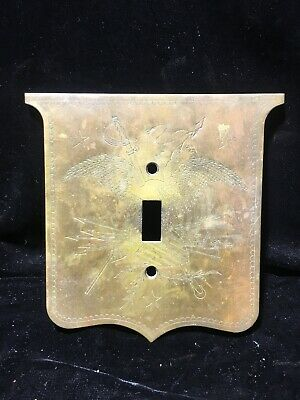 Vintage Engraved Brass Patriotic USA Eagle Switchplate Single Light Switch Cover