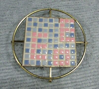 """Handcrafted ceramic tile mosaic pink blue 6-1/2"""" dia wire frame trivet FREE S/H"""