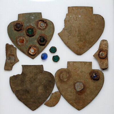 Very Interest Lot Collection Of 4 Bronze Ornaments With Stones , Medieval Or Lat