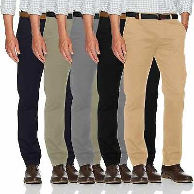 New Mens Ex-Store Chino Trousers Regular Fit Straight Cotton Casual Work Pants