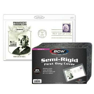 1 Pack of 25 BCW Brand Semi-Rigid First Day Cover Holder