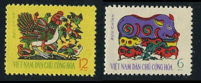 NORTH VIETNAM 1962 New Year, TET Folk Paintings: Piglets, Poultry 186-187 MNH