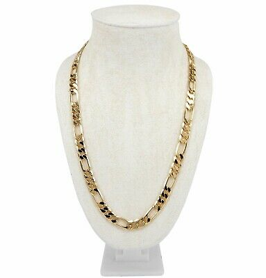 """Men's 8mm Italian Figaro Link Chain Necklace 14k Gold Plated 8"""" 9"""" 20"""" 24"""" 30"""""""