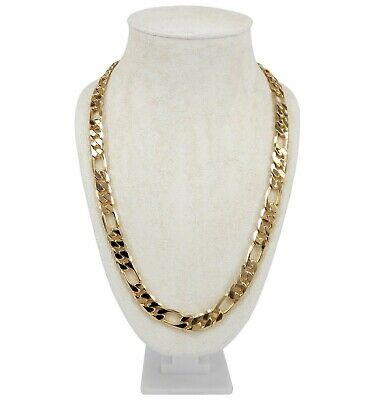 """Men's 10mm Italian Figaro Link Chain Necklace 14k Gold Plated 8"""" 9"""" 20"""" 24"""" 30"""""""