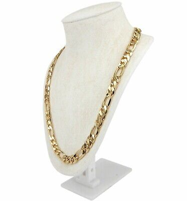 """Men's 12mm Italian Figaro Link Chain Necklace 14k Gold Plated 8"""" 9"""" 20"""" 24"""" 30"""""""