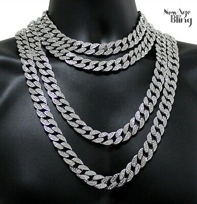 """Miami Cuban Link Iced Out 14k White Gold Plated 16""""-36"""" Choker Hip Hop Necklace"""