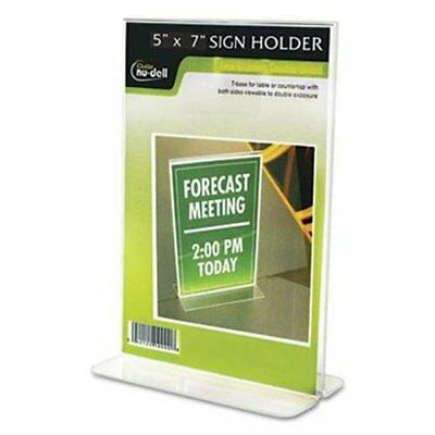"""Nu-dell Double-sided Sign Holder - 5"""" Width X 7"""" Height - Plastic - Clear"""