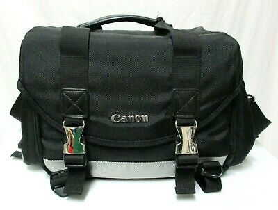 Black Canon 200DG Digital Camera Gadget Lens BAG Black strap Padded Dividers