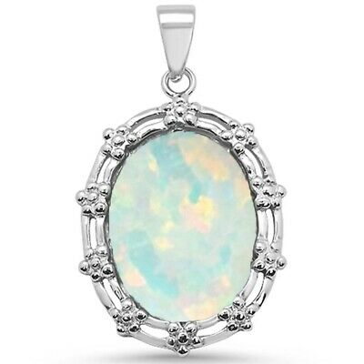 Oval White Opal Antique Design .925 Sterling Silver Charm Pendant