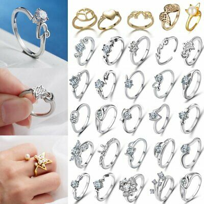 Silver Women Zircon Crystal Rings Fashion Engagement Wedding Party Jewelry Gifts