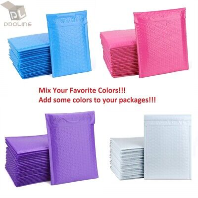 Mix Your Color 50 Poly Bubble Padded Envelopes Mailers #0 6x10 (Inner 6x9)