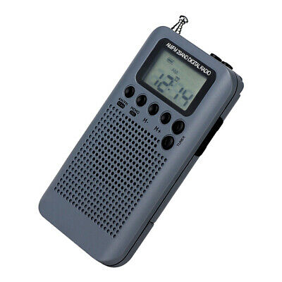 Rechargeable AM FM Digital Portable Pocket Radio And Earphone Gray