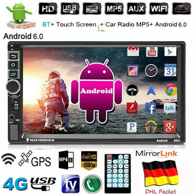 Android 6.0 AUTORADIO mit Navigation NAVI BLUETOOTH WIFI GPS 2 DOPPEL DIN MP3 7""