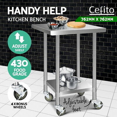 Cefito Stainless Steel Kitchen Benches Work Bench Food Prep Table With Wheels S