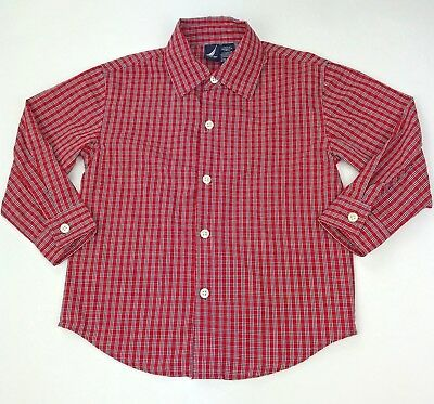 NAUTICA Toddler Boys Plaid Shirt Size 3T Red White Long Sleeve Button Down Front