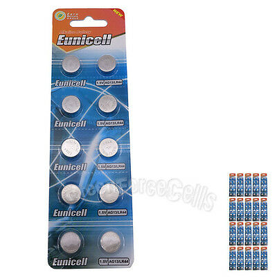 200 pcs AG13 GP76 357A SR44SW RW42 1.5V Alkaline Button Cell Battery EuniCell