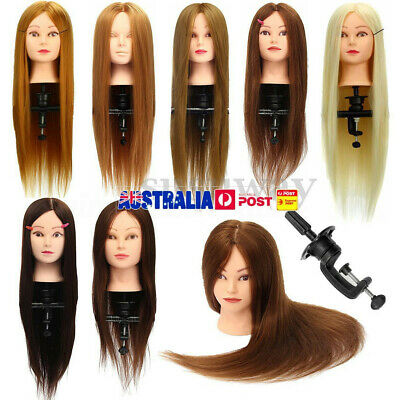 Real Human Hair Practice Hairdressing Training Head Mannequin Doll w/ Clamp