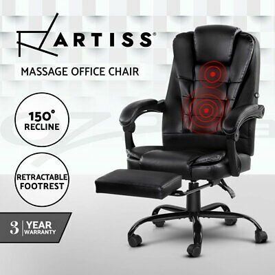 Artiss Massage Office Chair Reclining Leather Computer Gaming Seat Footrest