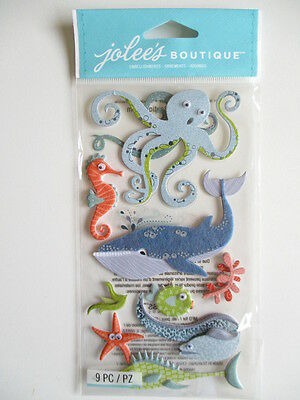 Jolee/'s OCEAN ANIMALS Boutique Stickers WHALE SEAHORSE BEACH VACATION NEW