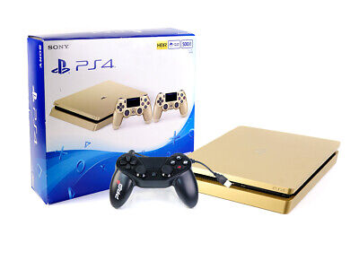 Sony PS4 Konsole - SLIM 500GB - GOLD + Neuer Subsonic Controller Gamepad Black