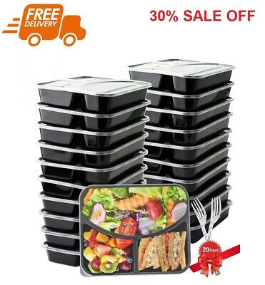 20 Pack Plastic Meal Prep Containers Storage Boxes 3 Compartment with Lids 28 oz