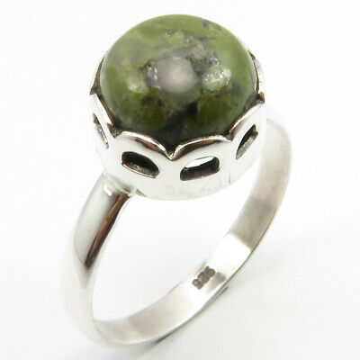 Solid Sterling Silver Real Purple & Green Round Mohave Stichtite Ring Size 8.5