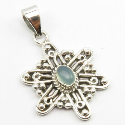 "Aqua Chalcedony Ancient Style Pendant 1.5"" Sterling Silver Gemstone Art Jewelery"