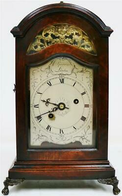 Rare Antique English Mahogany 18thc Single Fusee Verge Escapement Bracket Clock
