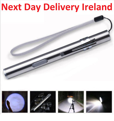 Pocket Tactical Flashlight Torch LED Pen T6 USB Rechargeable Light Work