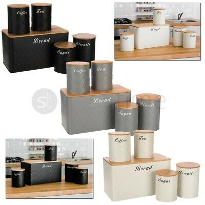 5Pcs Kitchen Storage Tins Canister Set Bamboo Lid Tea Coffee Sugar Bread Bin Jar