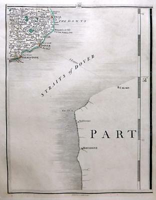 KENT DOVER  CANTERBURY FOLKSTONE HYTHE  BY JOHN CARY GENUINE ANTIQUE MAP  c1794