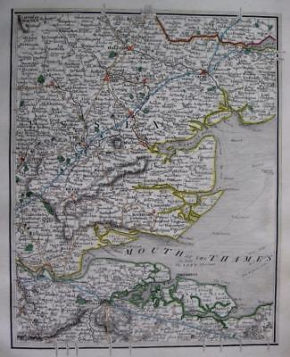 ESSEX  KENT  ROCHESTER SHEERNESS BILLERICAY JOHN CARY GENUINE ANTIQUE MAP  c1824