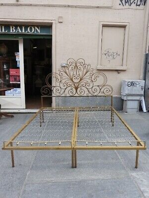Authentic Antique Double Bed Wrought Iron Forged Golden Period