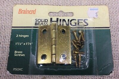 "2 small door butt hinges solid brass 1 1/2 x 1 1/4"" jewelry box vintage Brainerd"
