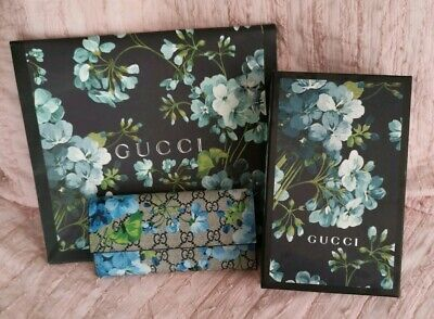 52a57df96f2 GUCCI Blooms Wallet GG Canvas Floral Blue Flap Box Long Flower NEW RED  leather