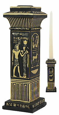 Egyptian Hieroglyphs Royal Pillar Column Pharaoh And Isis Candle Holder Statue