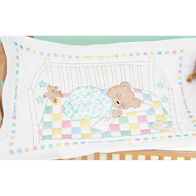 "Jack Dempsey Stamped White Quilt Crib Top 40""X60""-Snuggly Teddy"