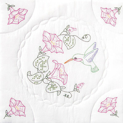 "Jack Dempsey Stamped White Quilt Blocks 18""X18"" 6/Pkg-Hummingbird"