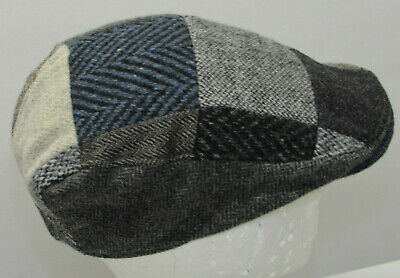 e910b54d965d2 Hanna Hats Donegal Made in Ireland Notre Dame Wool Patchwork Cabbie Hat Cap  sz S
