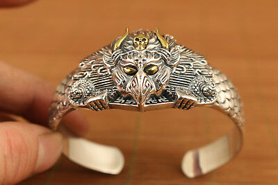 S925 solid Silver Valuable Hand Carved buddha exquisite skull thor Bracelet