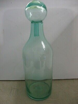 vintage retro mid century hand blown GREEN glass BOTTLE round ball STOPPER decor