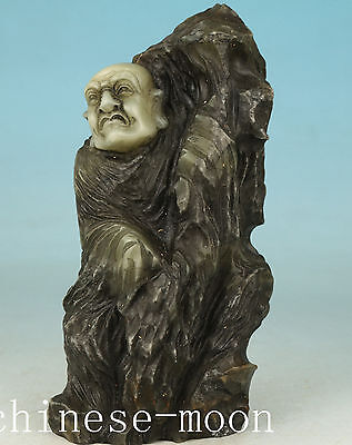 only one Chinese Shou shan Stone Hand Carved Buddha Monk Wisdom Mountain Statue